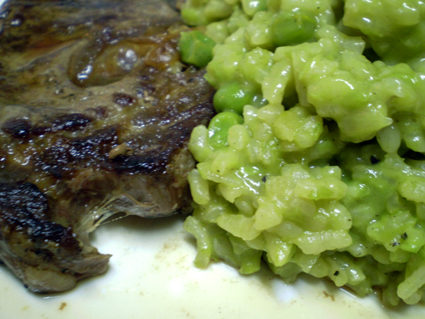 Nigella Lawson's pea risotto with steak
